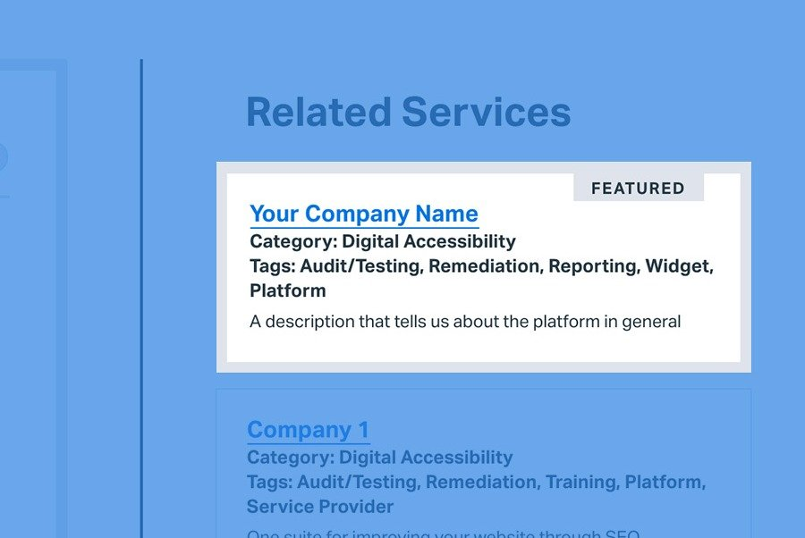 screenshot of featured listing highlighted on listing sidebar