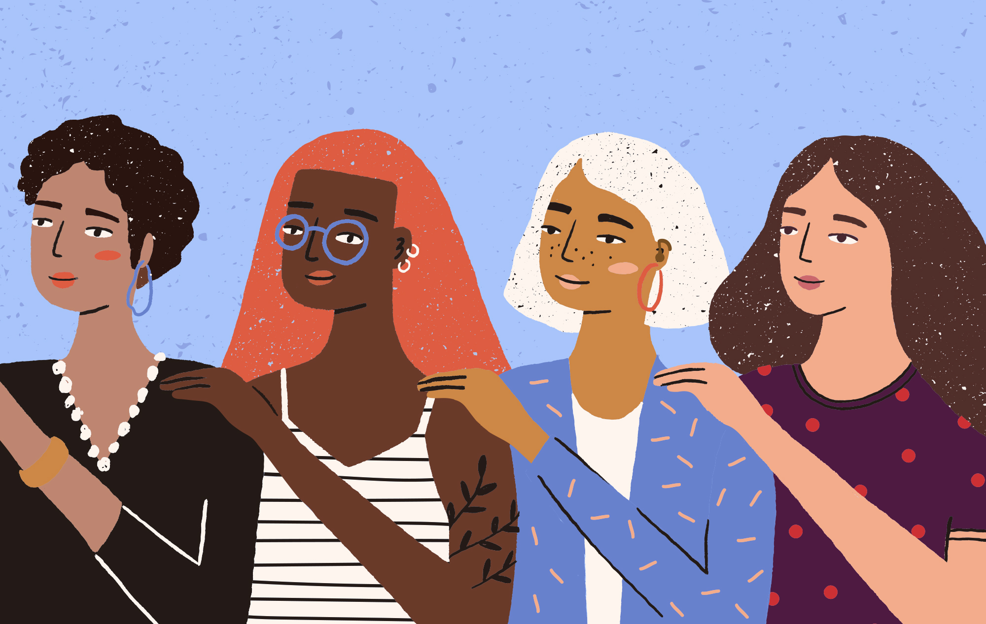 An illustration of a group of women standing together with their hands on one another's shoulders.