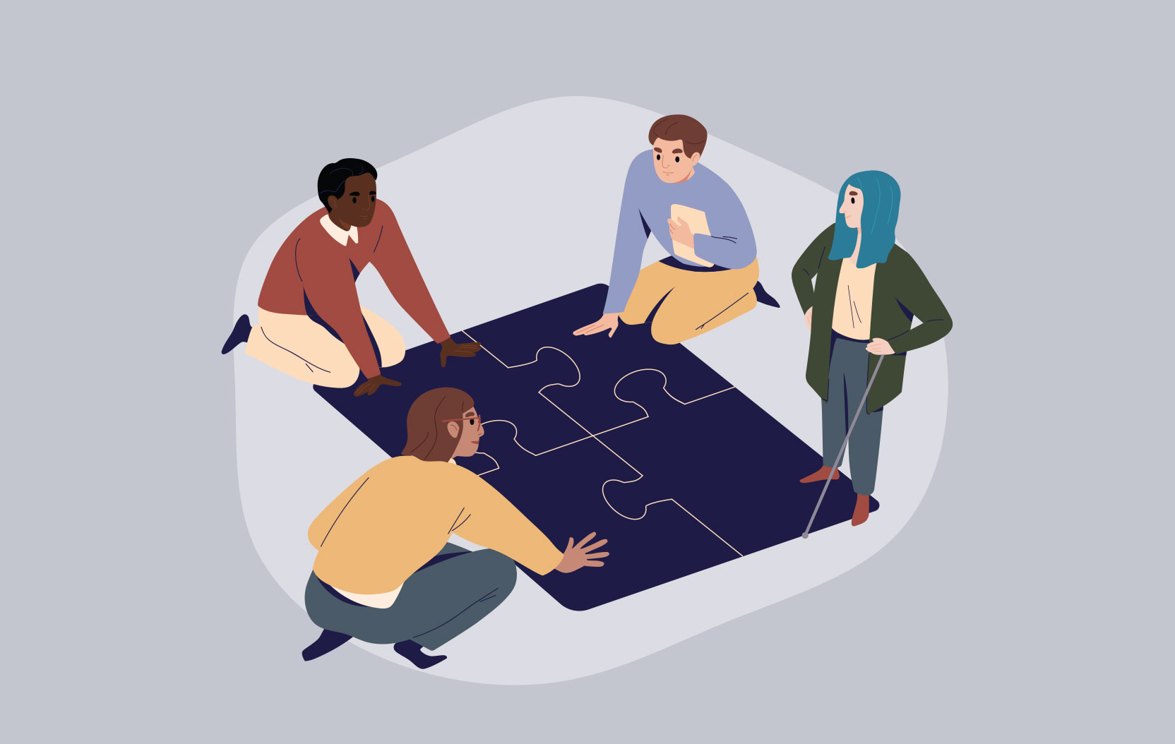 Group of people putting a large puzzle together