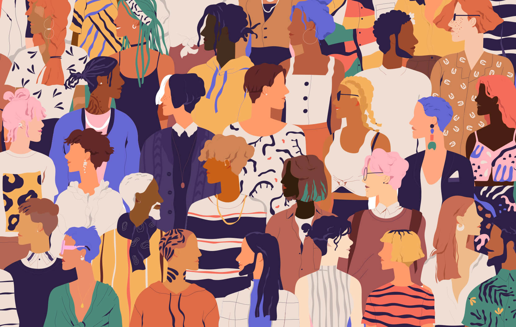 Illustration of a diverse group of people in a crowd.