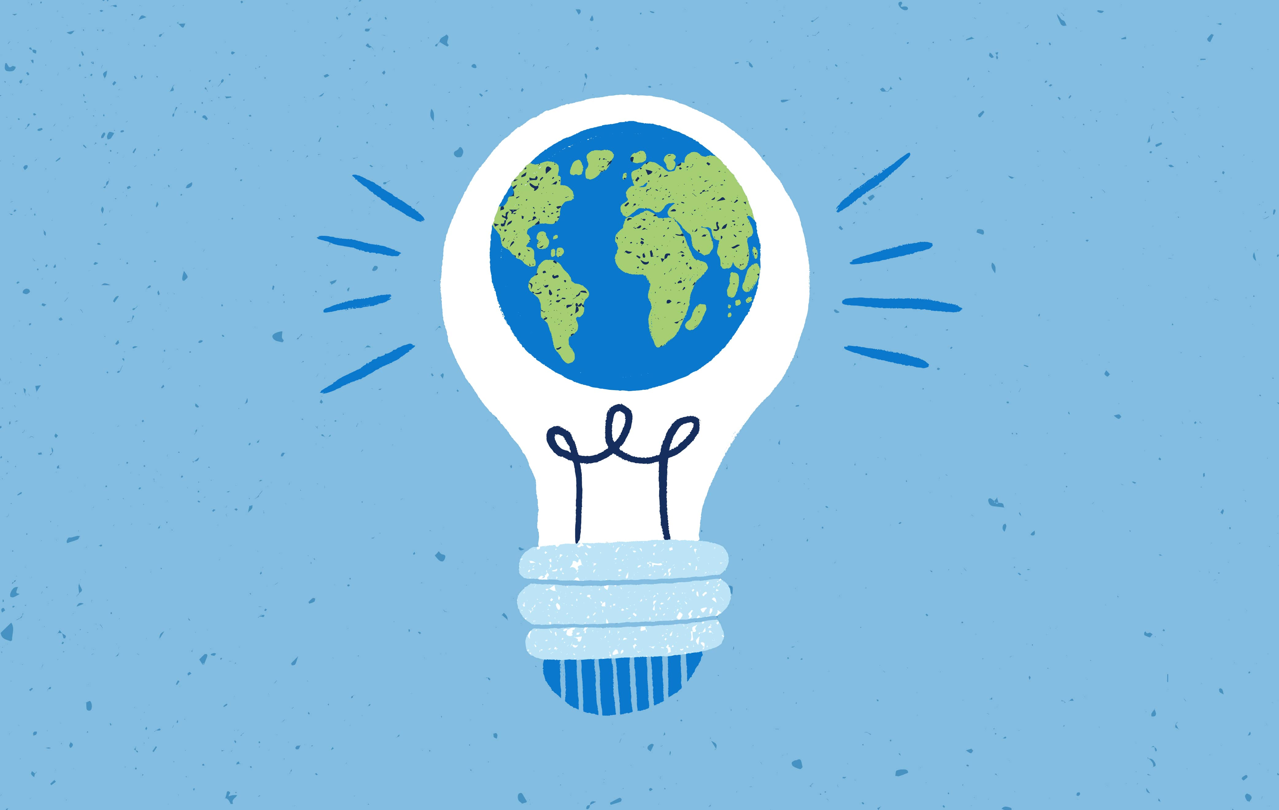 Illustration of a lightbulb with earth inside it on a blue background.