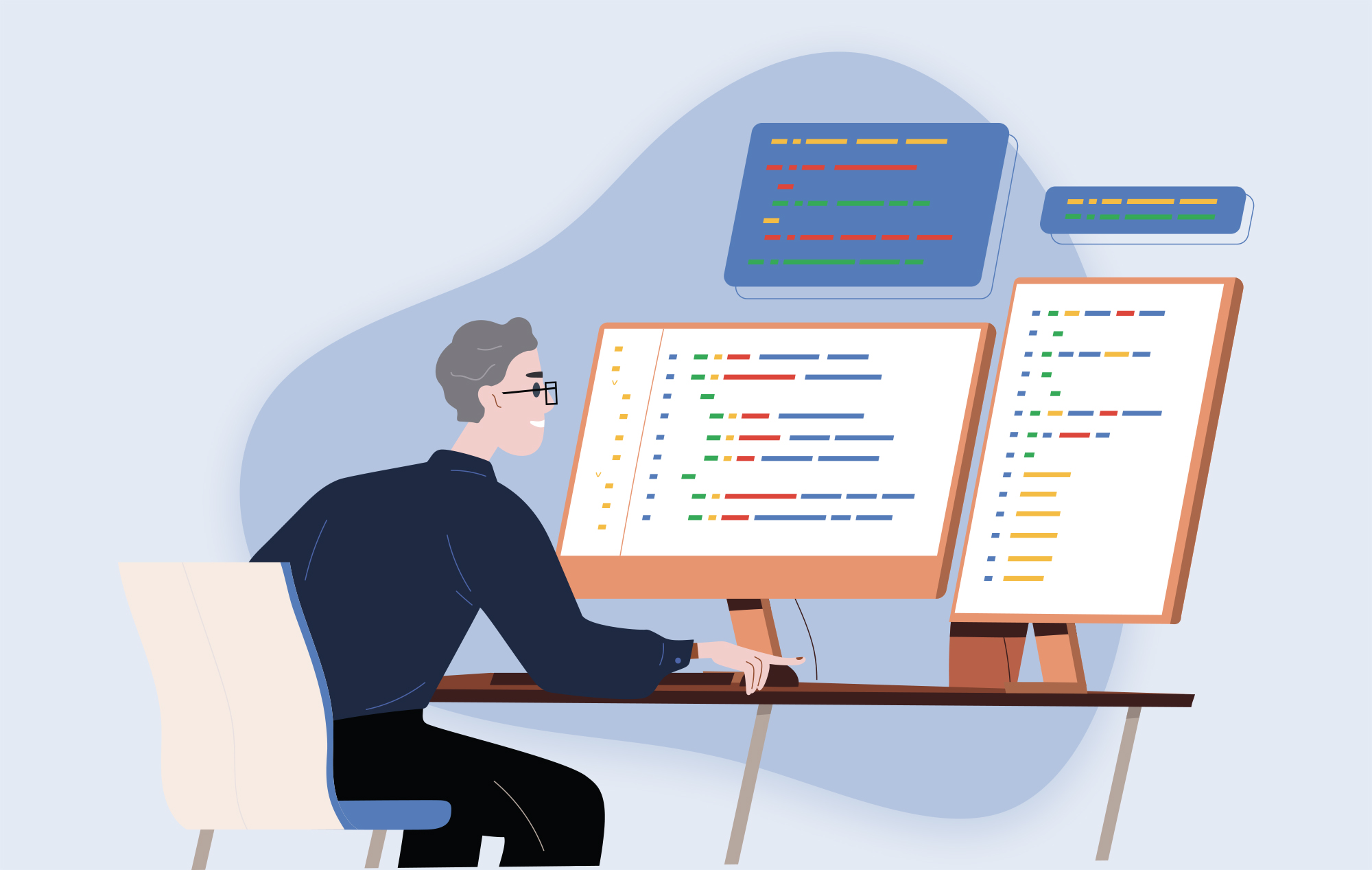 Illustration of a man sitting at a desk with computer monitors; coding screens are open.
