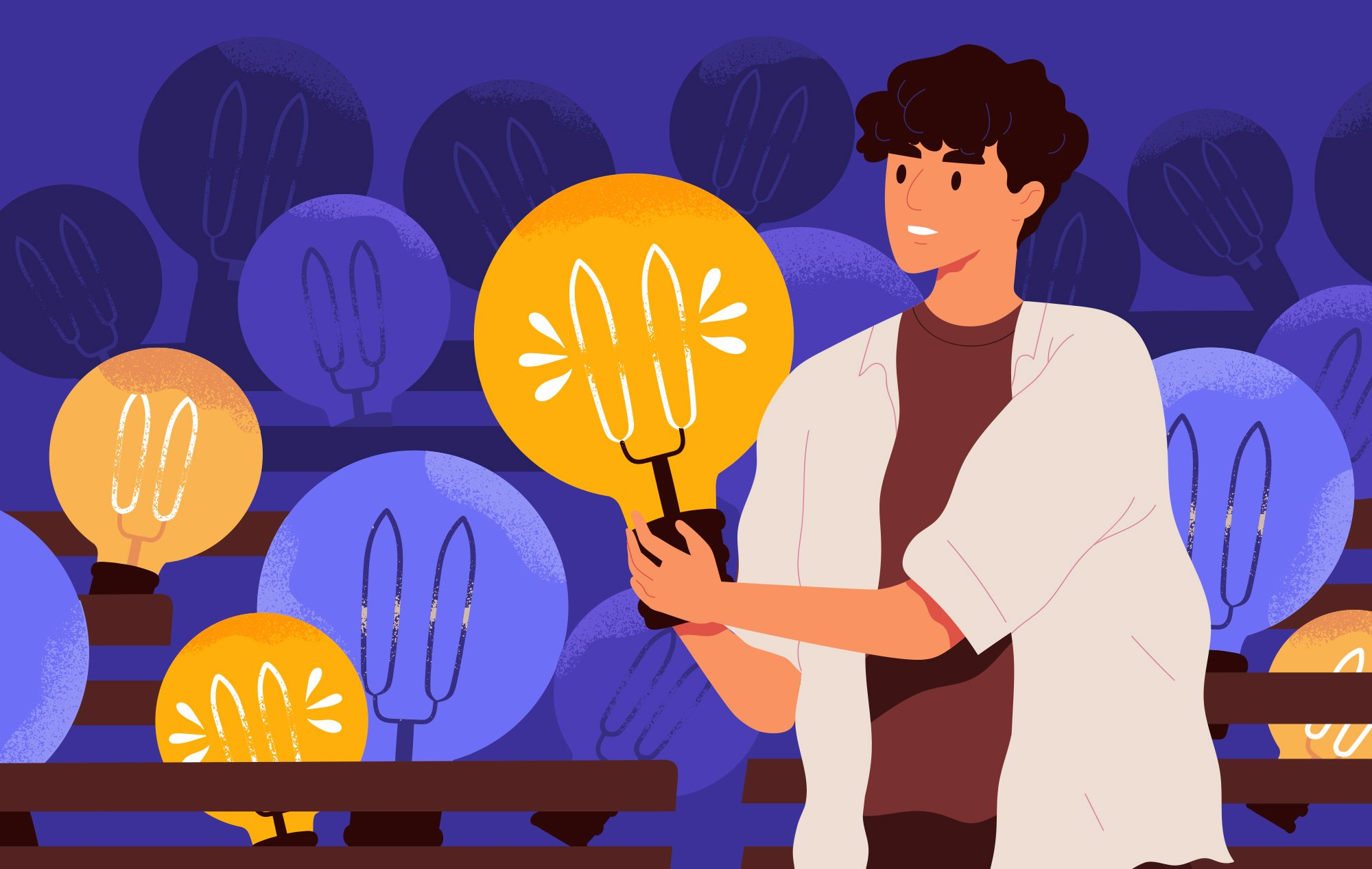 Illustration of a person holding a lit lightbulb. More lightbulbs are scattered in the background, some lit some not.