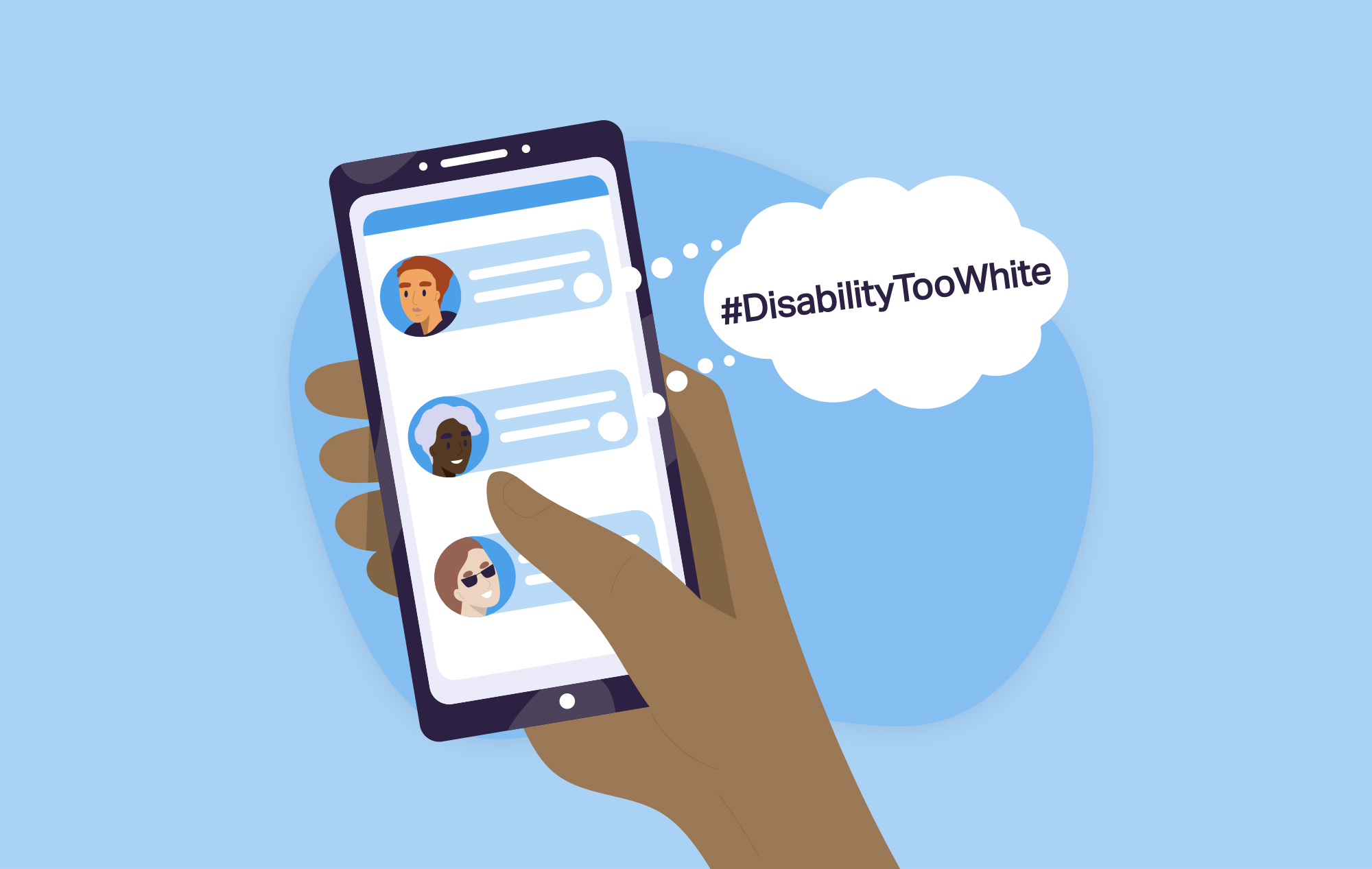 Illustration of a person holding a smartphone using a Twitter-like social media platform—a speech bubble extends from the phone with the text #DisabilityTooWhite.