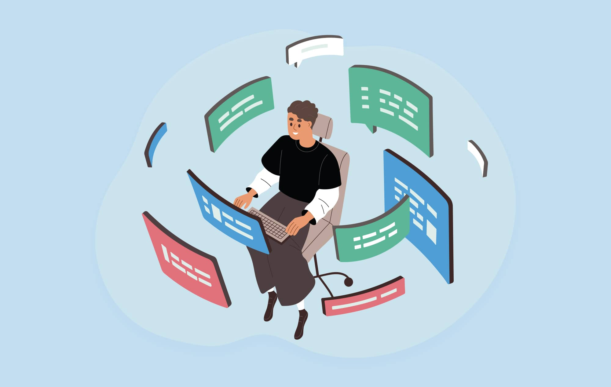 Illustration of a person sitting at a computer with floating modals surrounding them.