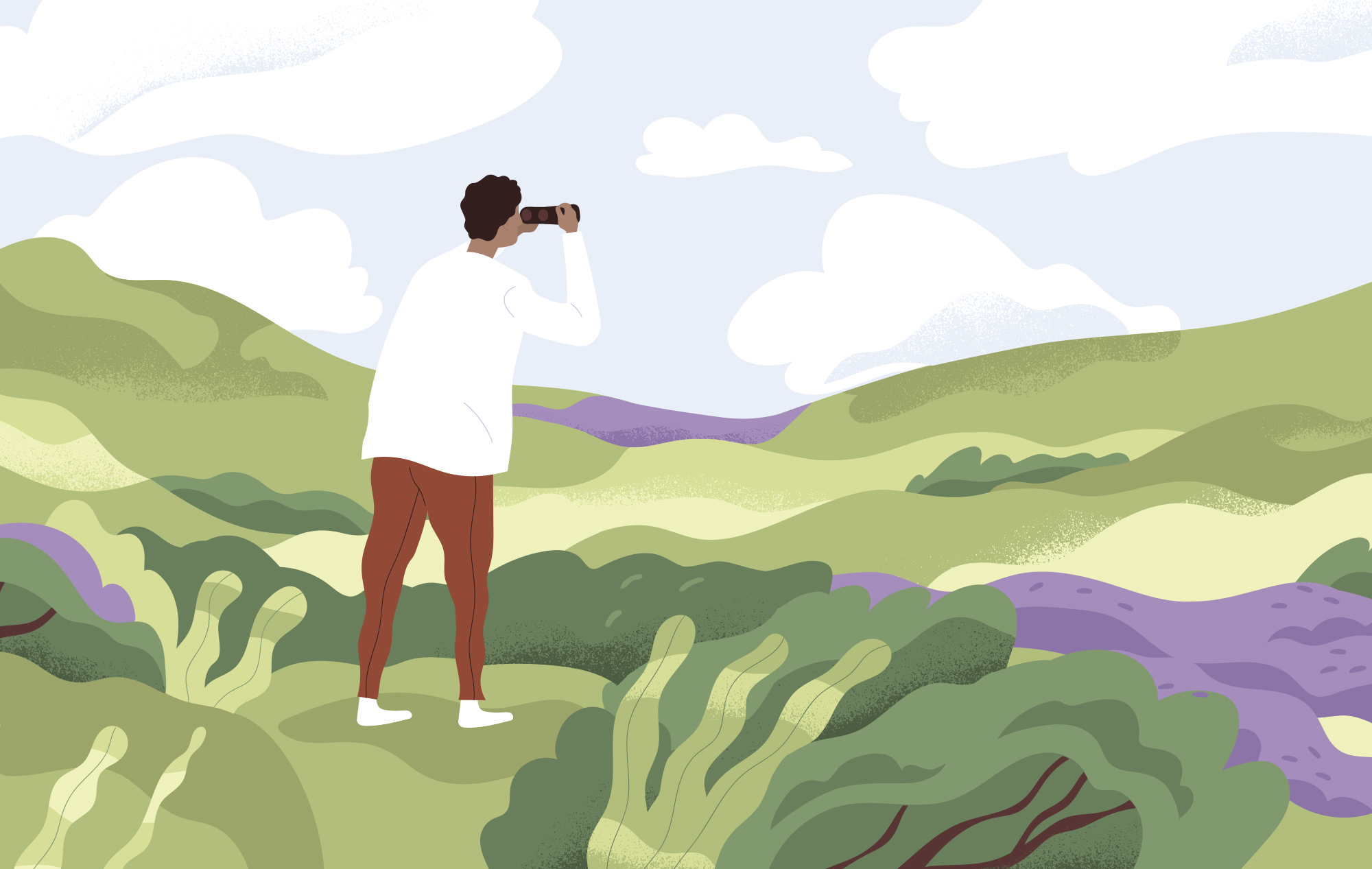 Illustration of a person standing in a field, surrounded by rolling green hills and bushes. The person is looking into a telescope at the horizon.