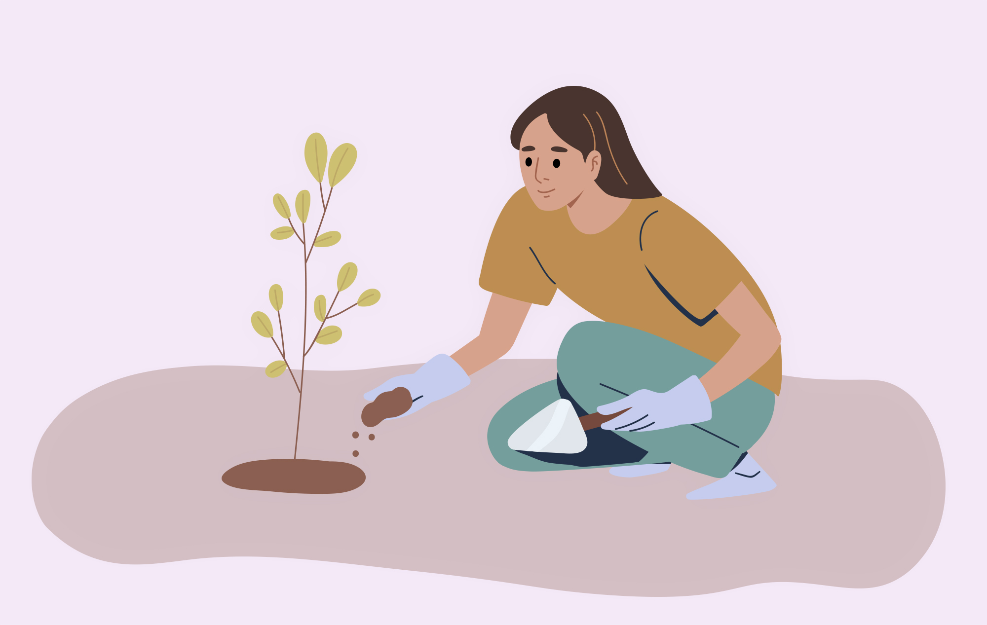 Illustration of a woman planting a tree in the soil; a metaphor for fostering growth.