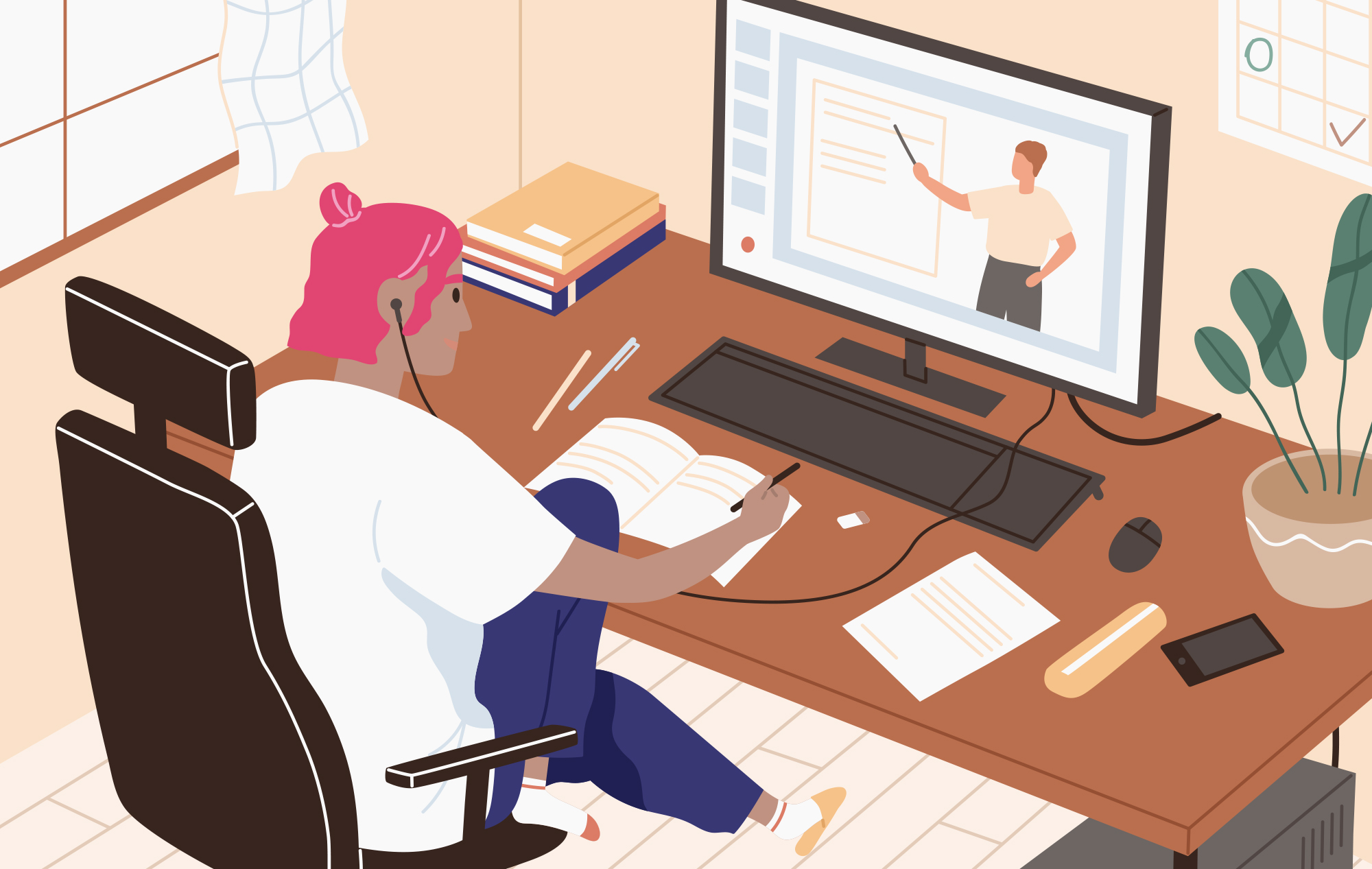 Illustration of a woman with pink hair sitting in her desk chair, watching a lecture online. She's taking notes in her notebook, and office supplies like pens, pencils and erasers are strewn across the desktop.