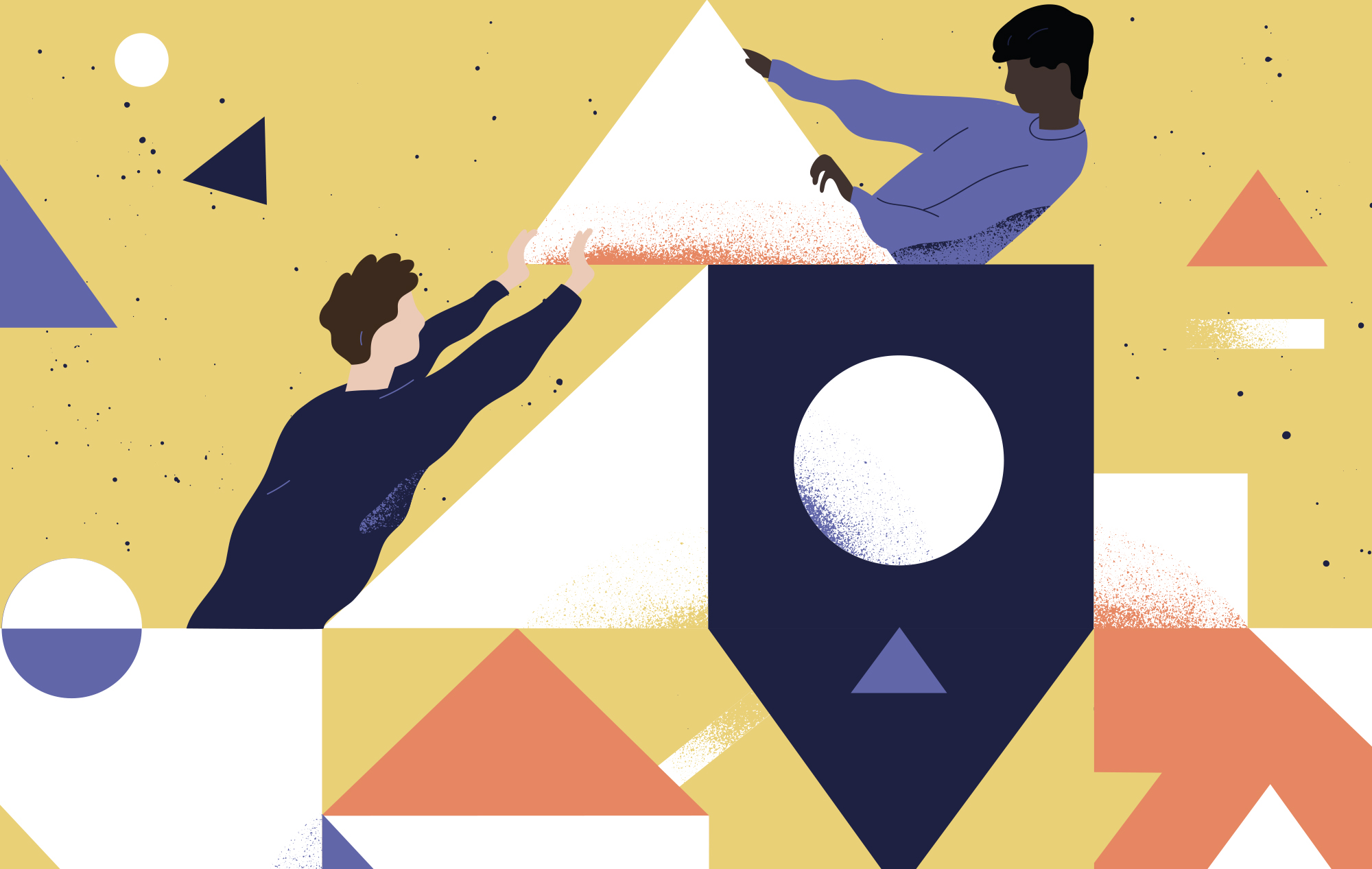 Illustration of an abstract interpretation of teamwork. One person pushes up a large triangle and another person pulls.