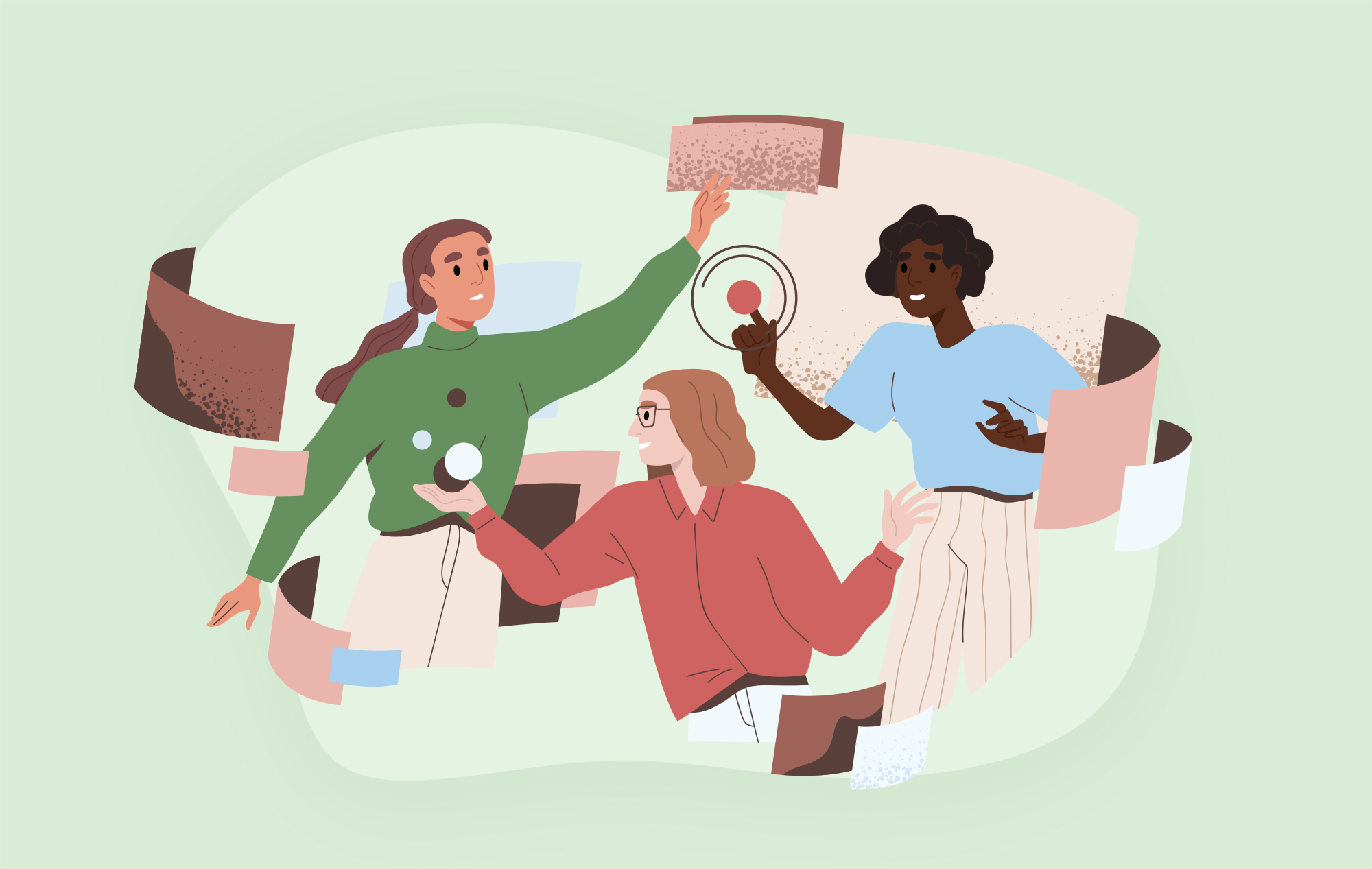 Illustration of three women reaching out towards abstract shapes; symbolizing technology and communication.