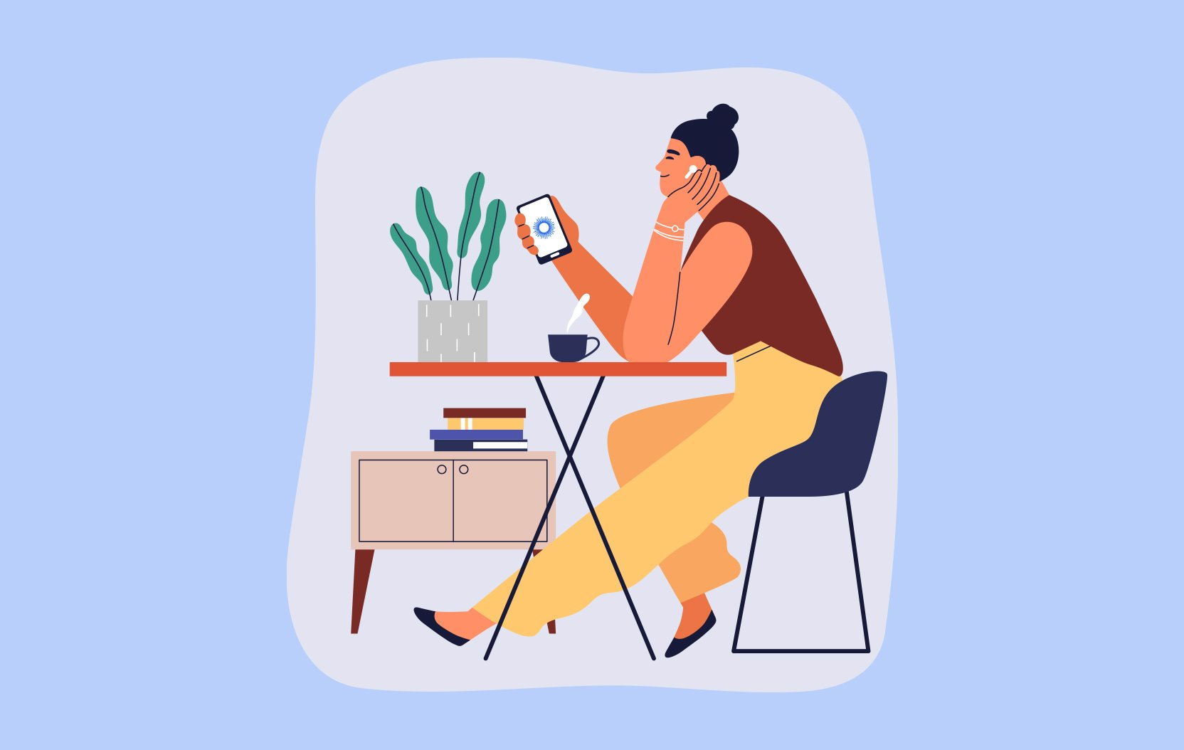 Illustration of a woman sitting at table holding smartphone with Be My Eyes logo on the screen.