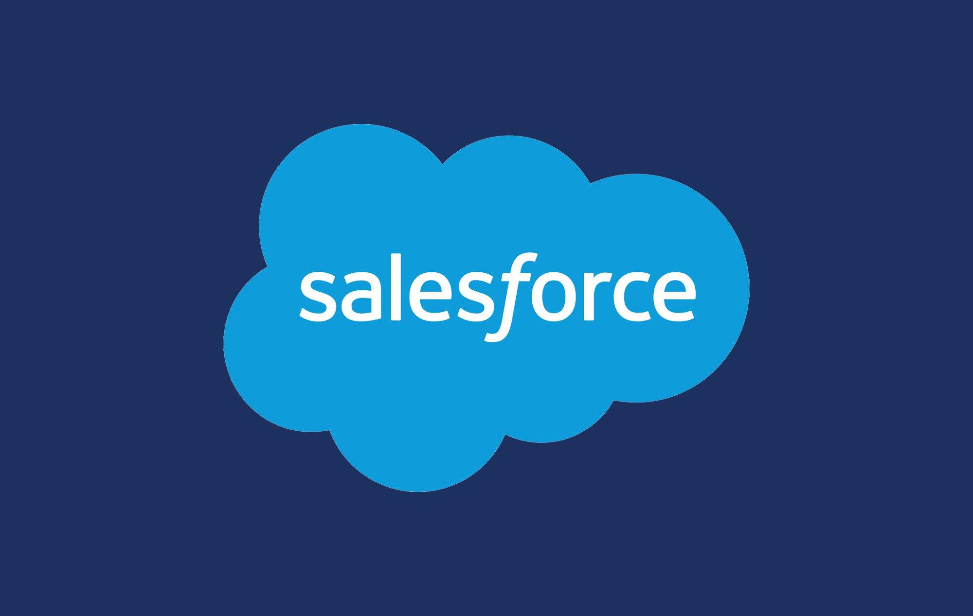 Light blue Salesforce logo on a royal blue background.