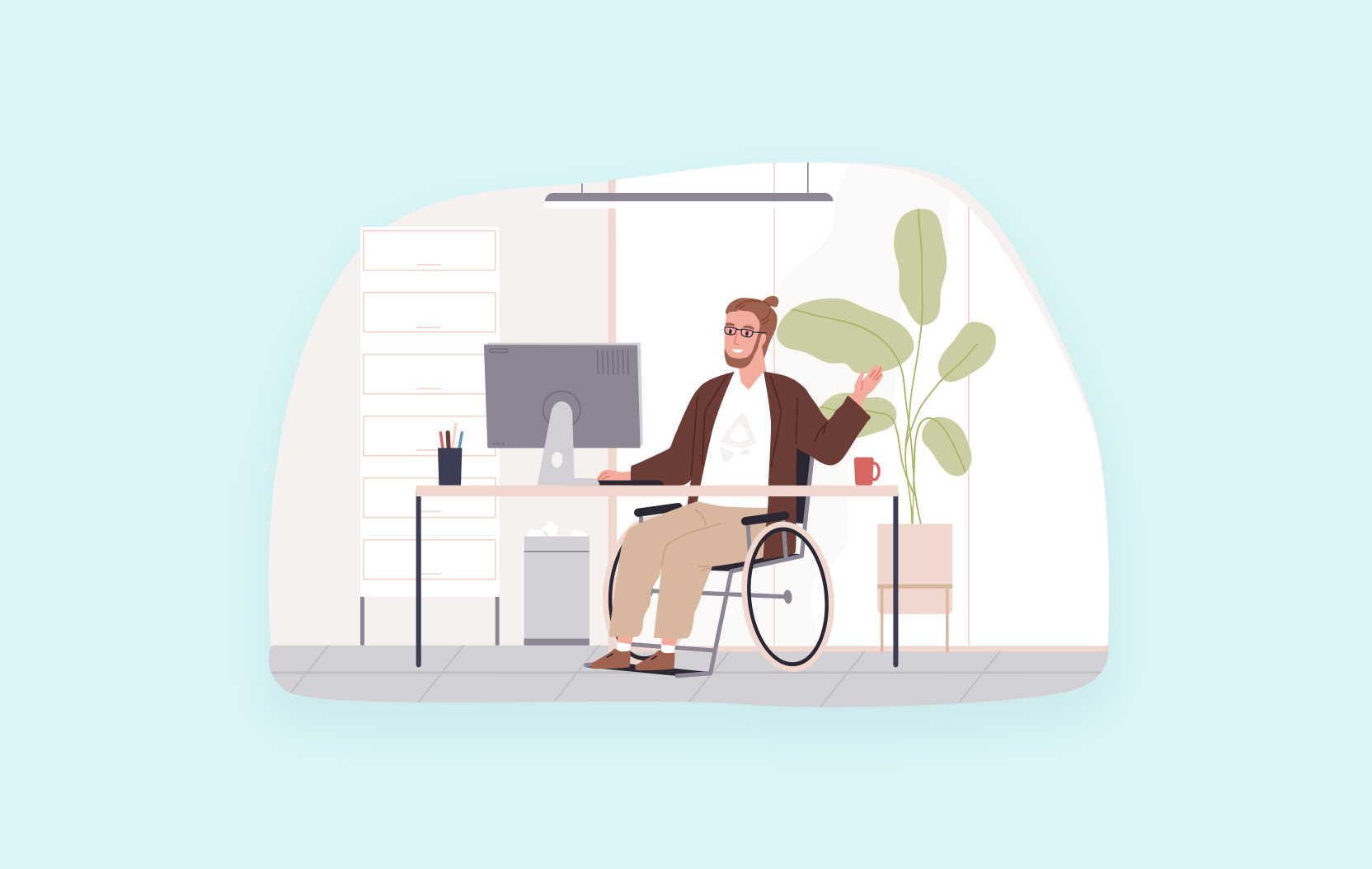 Illustration of a person in a wheelchair sitting at a desk and waving at a computer.