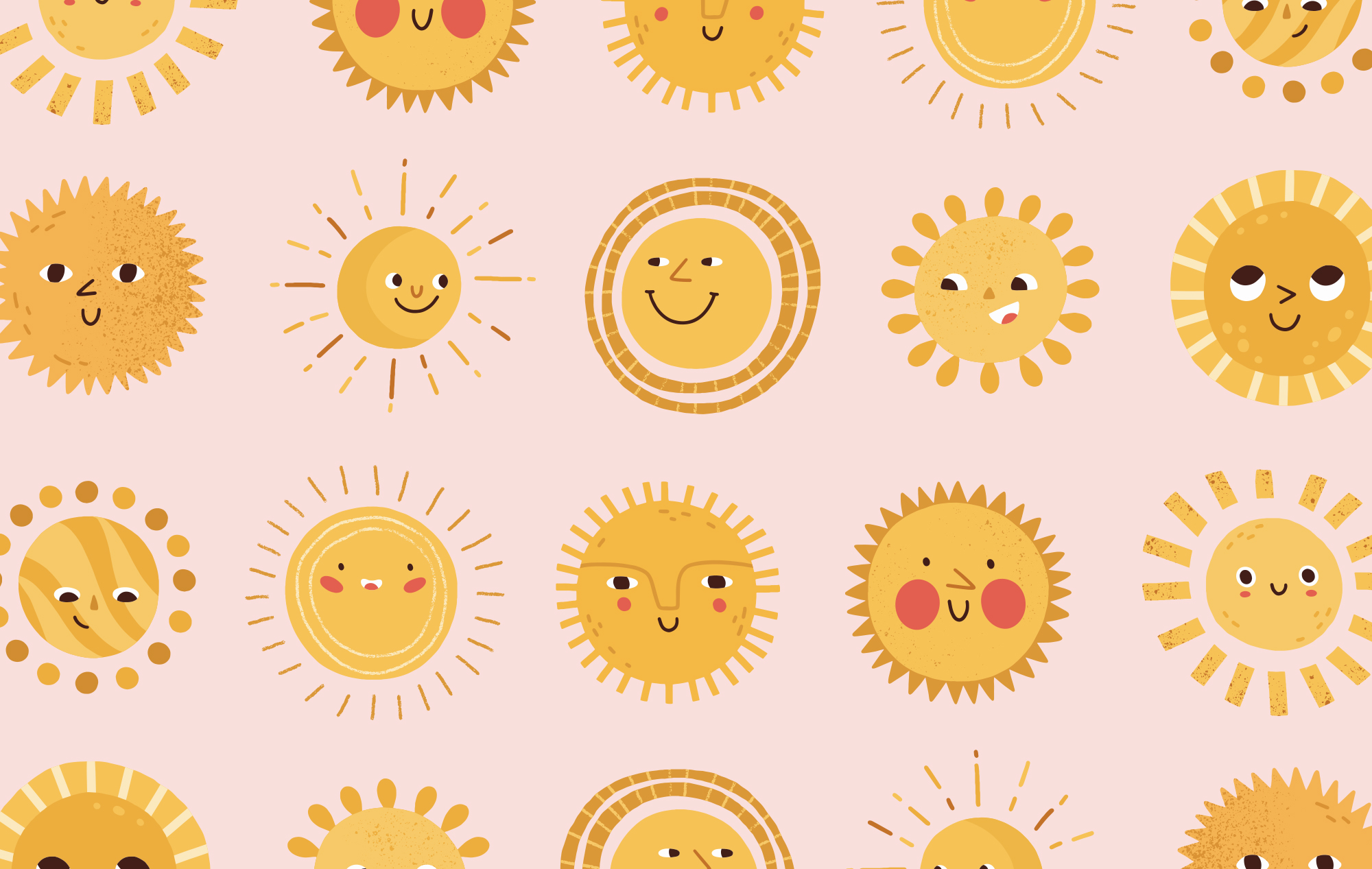 Rows of yellow and orange sun illustrations, all smiling.