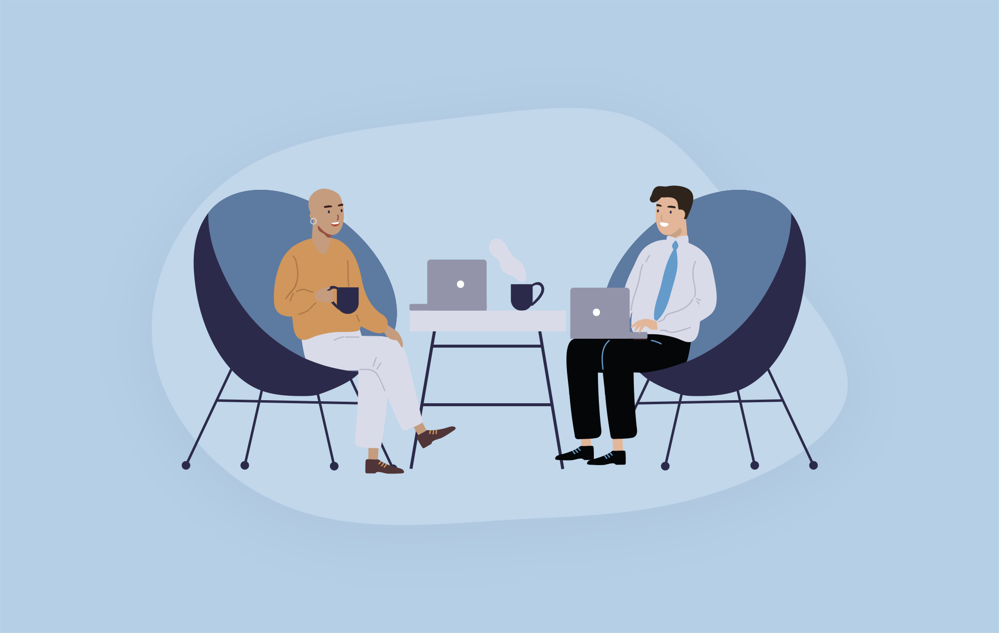 Two businesspeople sitting in chairs, having a meeting with their laptops and drinking coffee.