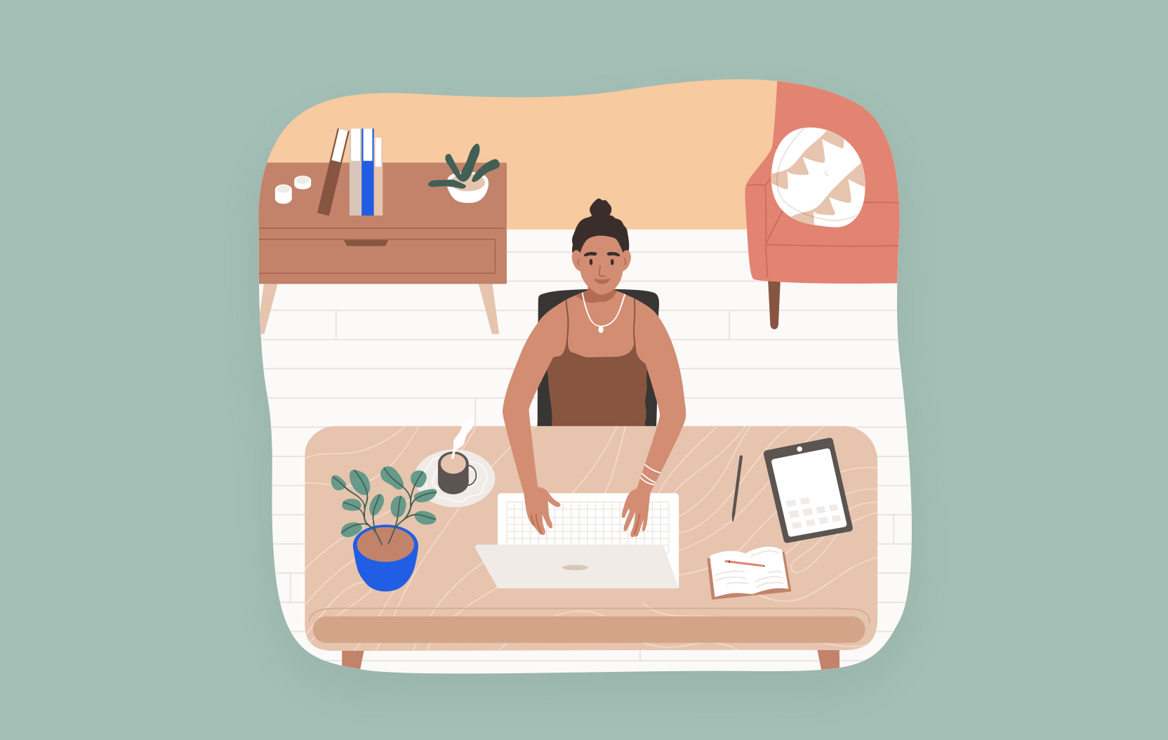 Illustration of a person sitting at a desk typing on their laptop.