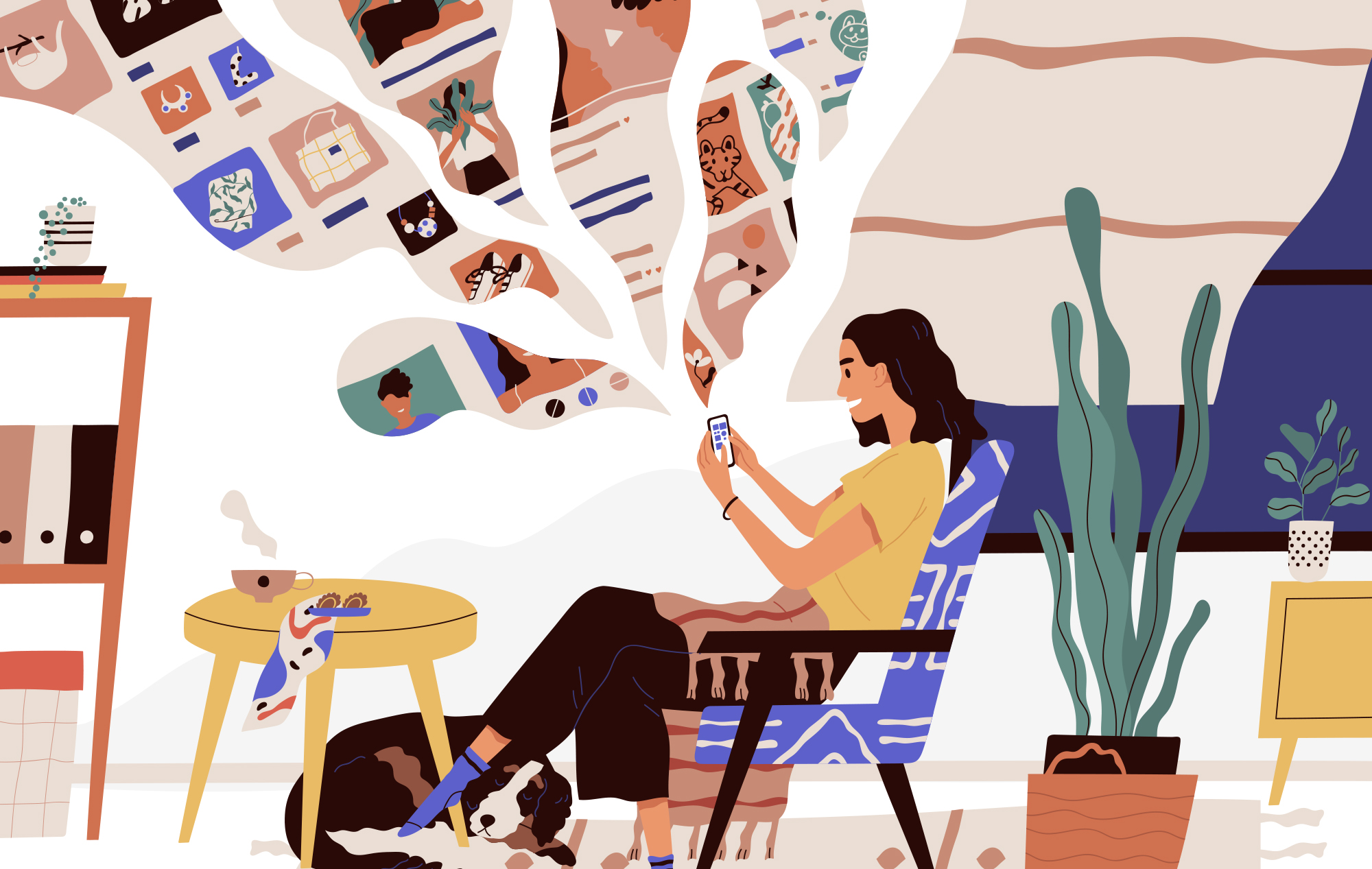 Digital illustration. A person with a delighted expression sits in a colorful, cozy space, looking out at a smart phone they are holding in their hands. A dreamscape of images from the web, such as a portrait photo, a pair of shoes and a tiger, emanate from their mobile phone like puffs of smoke.